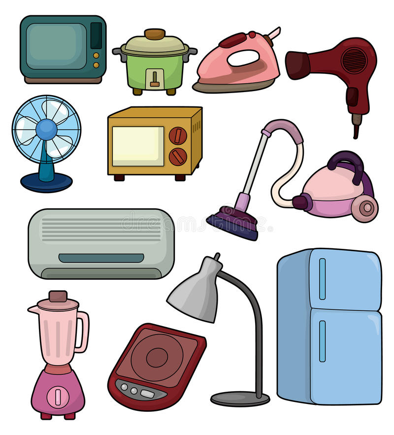 Cartoon home appliance icon stock illustration