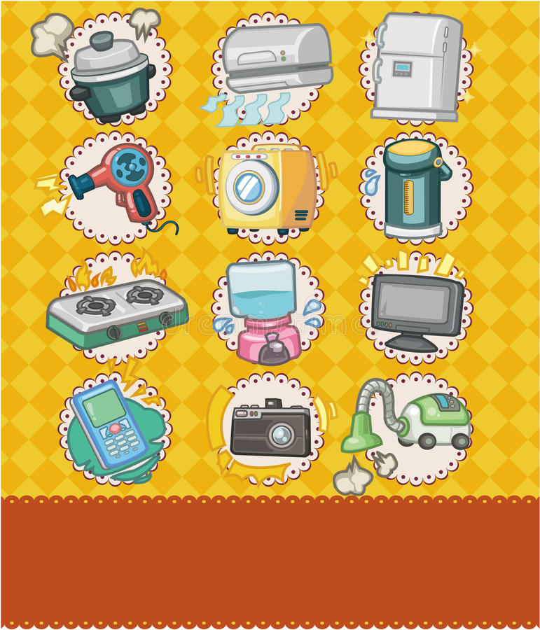 Download Cartoon Home Appliance Seamless Pattern Stock Vector - Image: 19415067