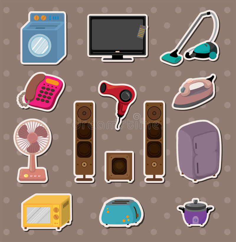 Cartoon home Appliance stickers stock illustration
