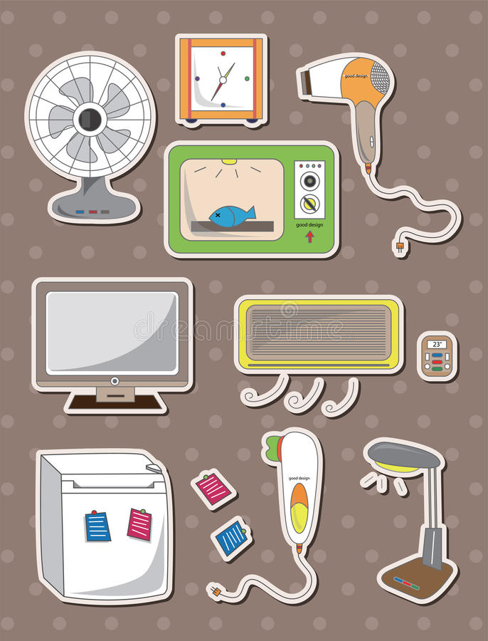 Cartoon Home Appliance Stickers Royalty Free Stock Photos