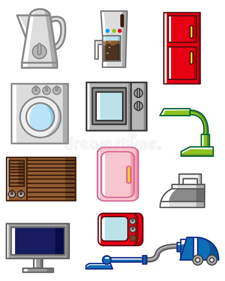 Cartoon Washer And Dryer ~ Cartoon home appliances icon stock vector illustration