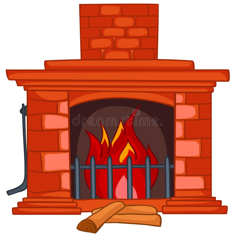 Cartoon Home Fireplace royalty free illustration