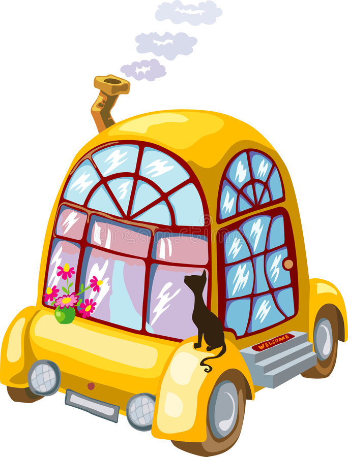 Download Cartoon Home On Wheels With Flowers And Black Cat Stock Vector - Image: 3433519
