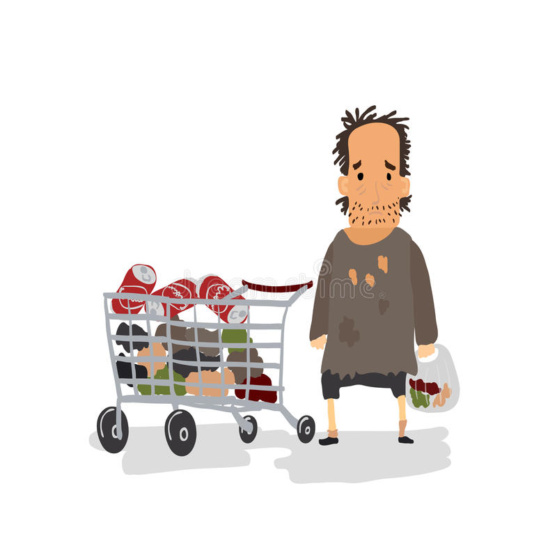 Cartoon Homeless with Shopping Cart. Vector. Illustration royalty free illustration