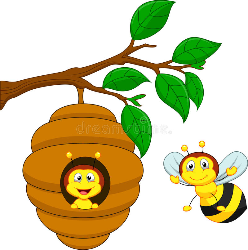 Cartoon a honey bee and comb royalty free illustration