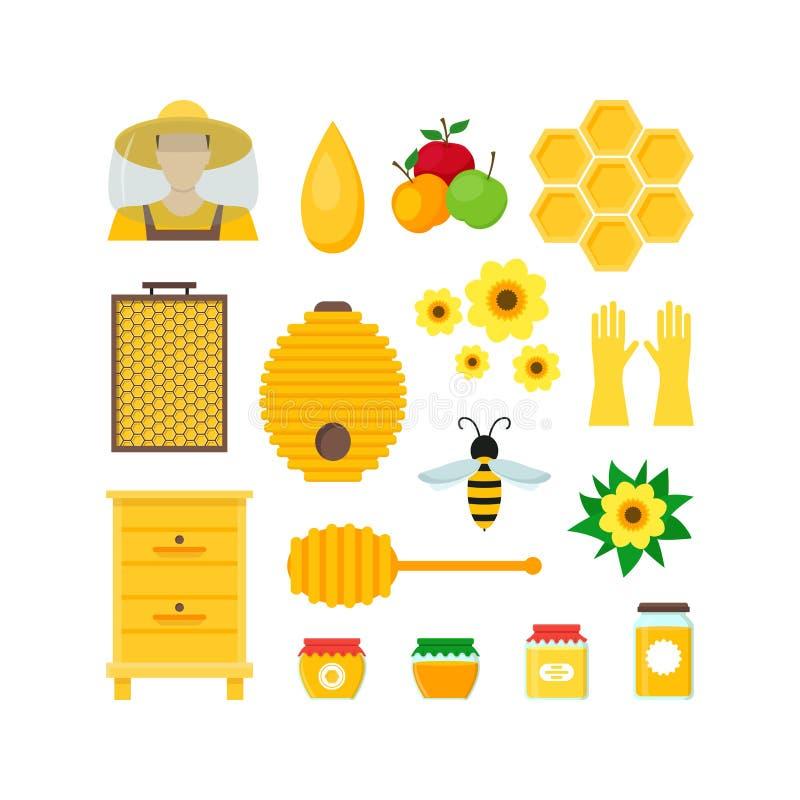 Cartoon Honey Color Set. Vector. Cartoon Honey Color Set Beekeeping Farm Flat Design Style for Web or App. Vector illustration vector illustration