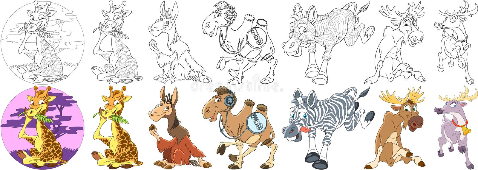 Cartoon hoofed animals set royalty free stock photo