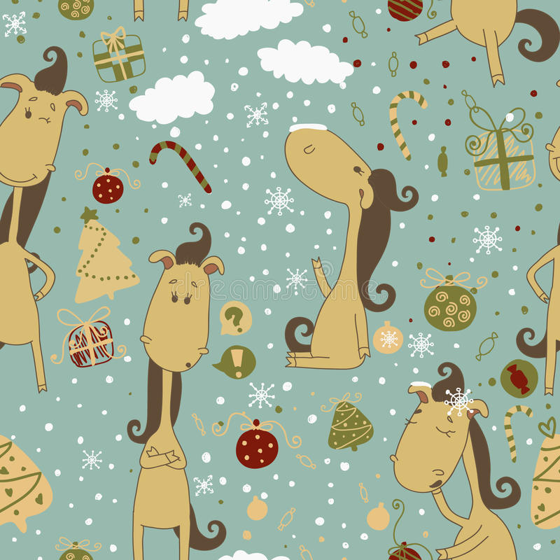 Cartoon horse on the Christmas background. Christm stock photos