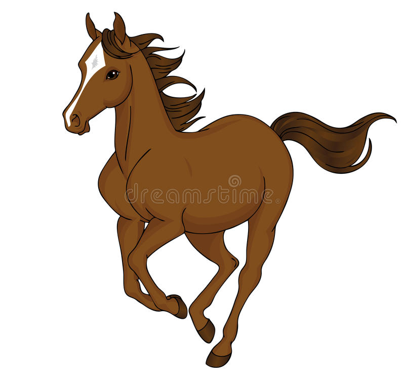 Cartoon horse running. Cartoon illustration of a brown horse with a white mark on head running