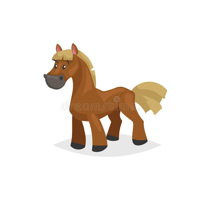 Cartoon horse standing. Brown horse with yellow gold mane. Farm purebred animal for kids education. Vector illustration stock illustration
