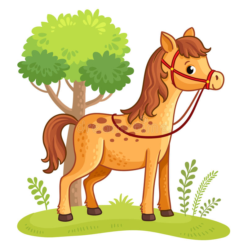 Cartoon horse standing in a meadow. vector illustration