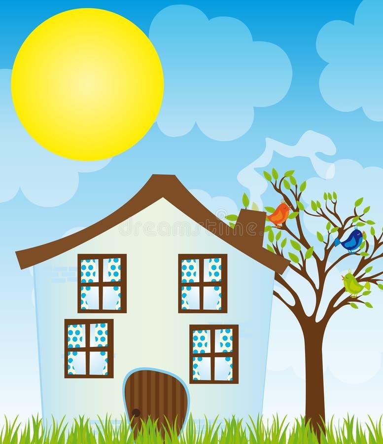 Cartoon house. Blue cartoon house with tree,birds,grass over sky with sun background. vector