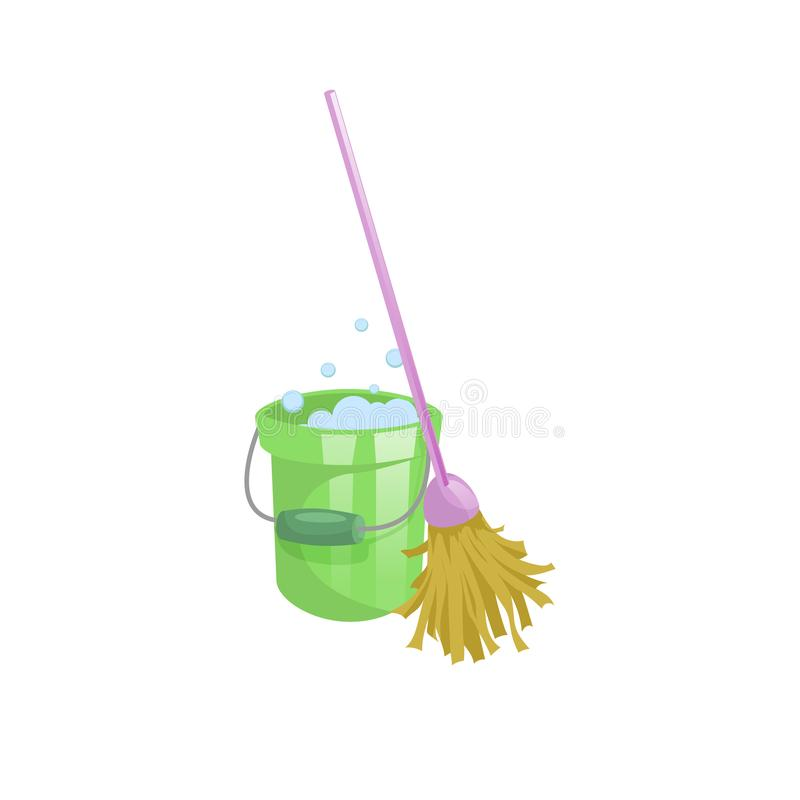 Download Cartoon House And Apartment Cleaning Service Icon Old Dry Mop With Handle Green