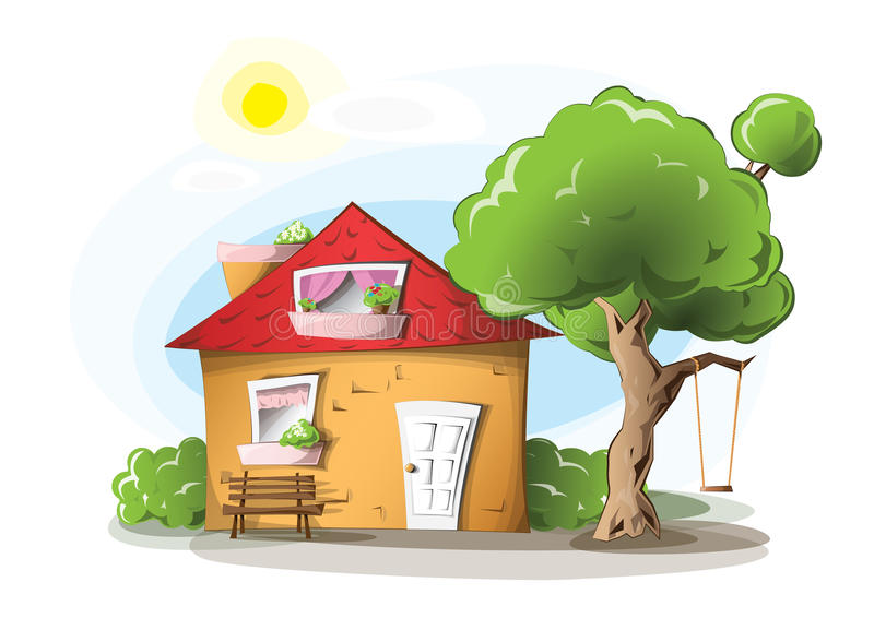 Cartoon house. Cosy cartoon house with a tree and a swing on it stock illustration
