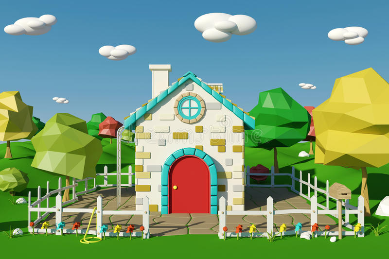 Cartoon house with countryside landscape in spring or summer stock illustration