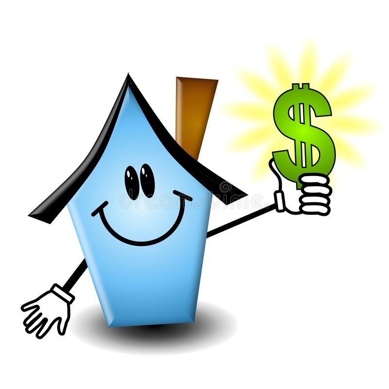 Cartoon House Holding Money stock illustration