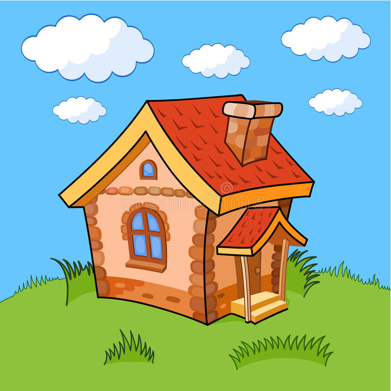 Cartoon house. Little cartoon house with a tiled red roof. The house is on a green lawn under a blue sky with clouds royalty free illustration
