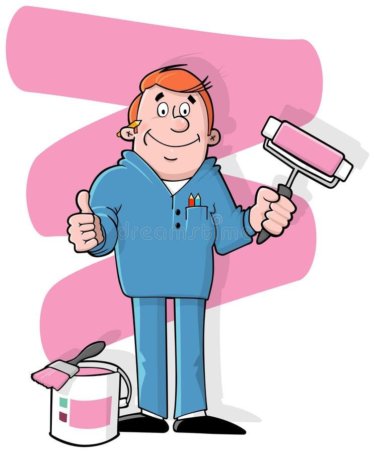 Cartoon house painter royalty free illustration