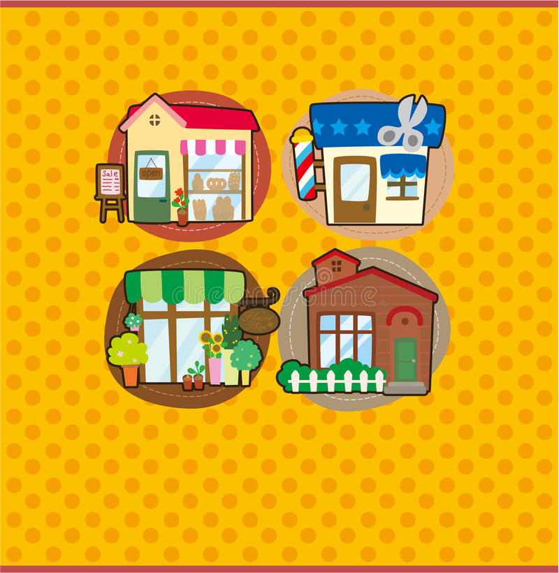 Cartoon house/shop card stock illustration