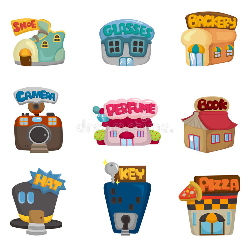 Cartoon house / shop icons collection vector illustration