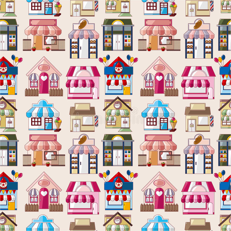 Cartoon house / shop seamless pattern stock illustration