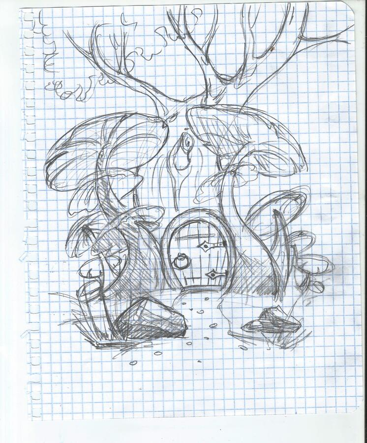Unprocessed original scans of freehand drawings stock photo