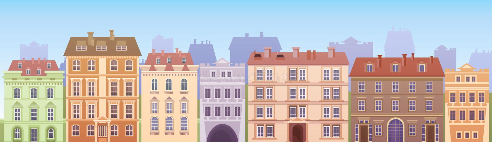 Cartoon Houses Buildings Old Town View Banner Skyline. Flat Vector Illustration royalty free illustration