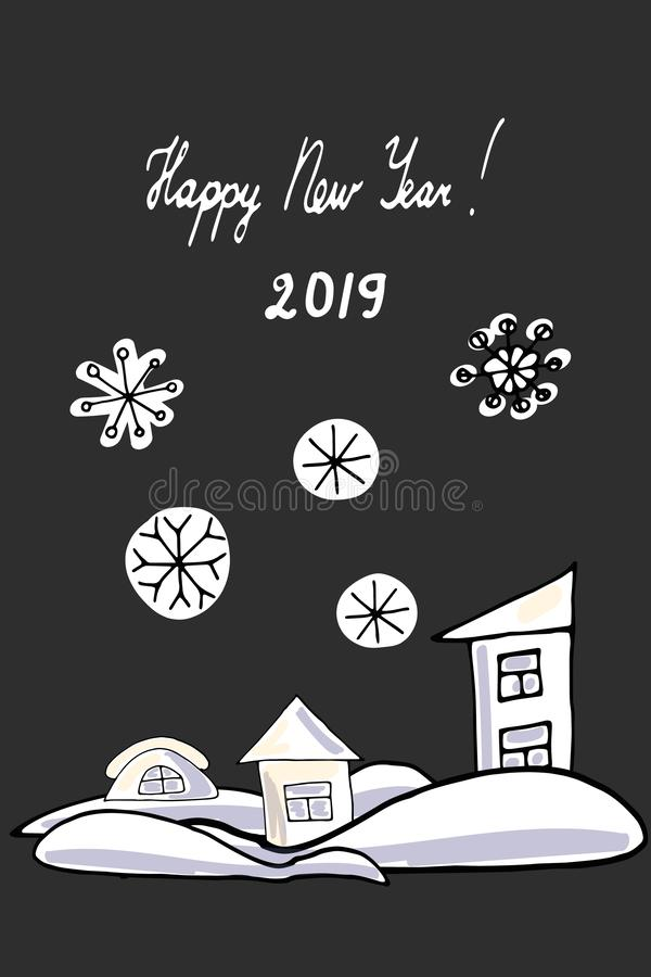Cartoon houses of different shapes on a black background in snowdrifts. New Year sticker. stock image