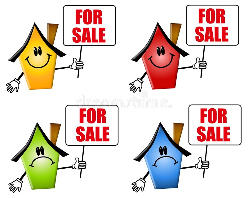 Cartoon Houses For Sale Signs Royalty Free Stock Photography