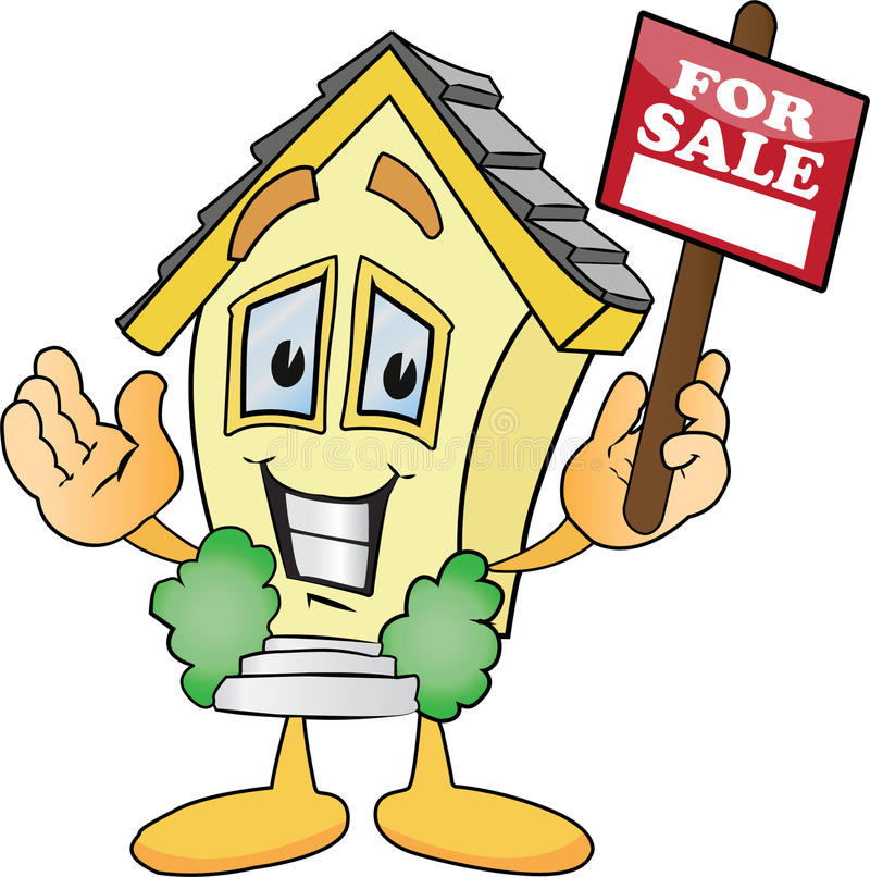 Cartoon Houses For Sale Signs. A cartoon illustration of a home for sale with smiling royalty free illustration