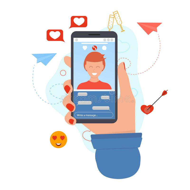 Cartoon Human Hand Using Mobile Phone Online Dating Concept. Vector royalty free illustration