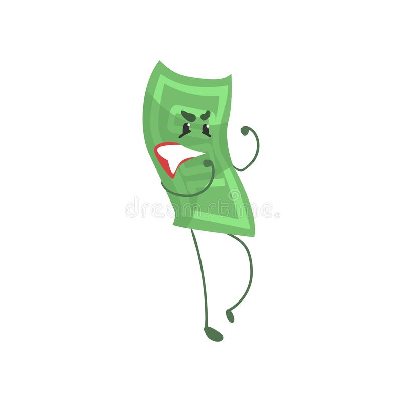 Cartoon hundred dollar bill character in fighting pose. Money and finance concept. Flat green banknote icon. Vector vector illustration