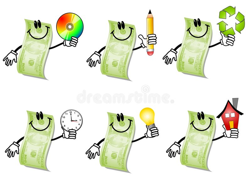 Cartoon Hundred Dollar Bills 2. An illustration featuring your choice of 6 different hundred dollar bill cartoon characters smiling and holding objects to vector illustration