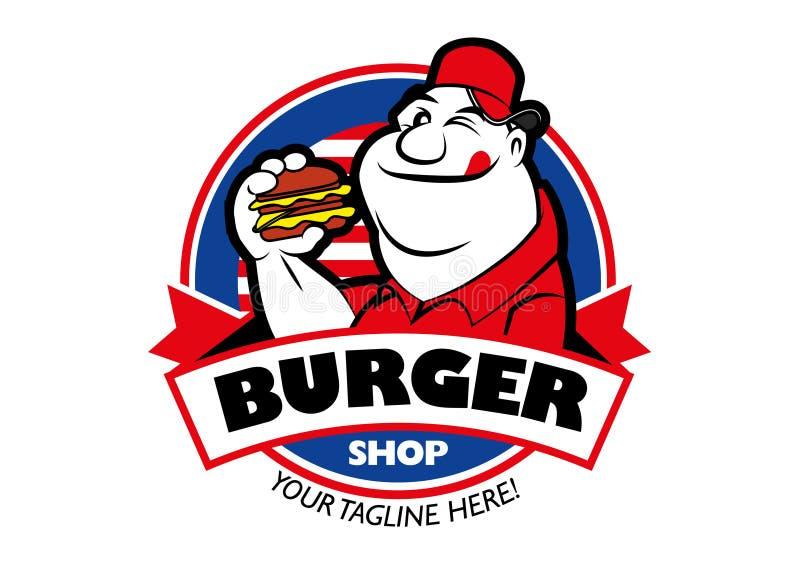 Cartoon hungriger Fett-Mann mit einem Burger im runden Hintergrund lizenzfreie abbildung