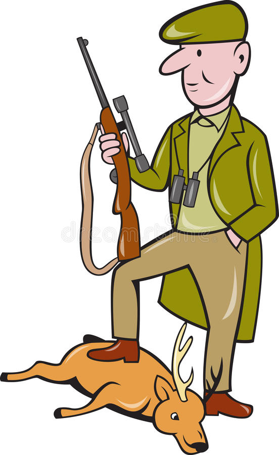 Cartoon Hunter With Rifle Standing on Deer royalty free illustration