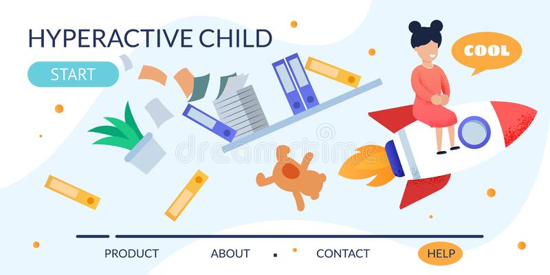 Hyperactive Child on Rocket Metaphor Landing Page vector illustration
