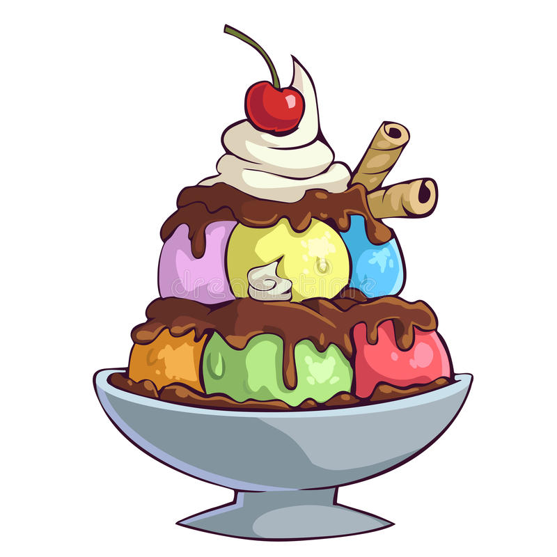 Free Cartoon Ice Cream Bowl Royalty Free Stock Images - 56250159