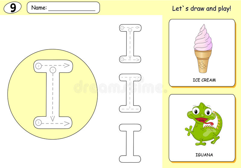 Cartoon ice cream and iguana. Alphabet tracing worksheet. Writing A-Z, coloring book and educational game for kids vector illustration