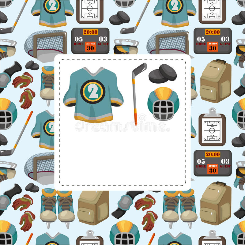 Cartoon ice hockey sport seamless pattern vector illustration