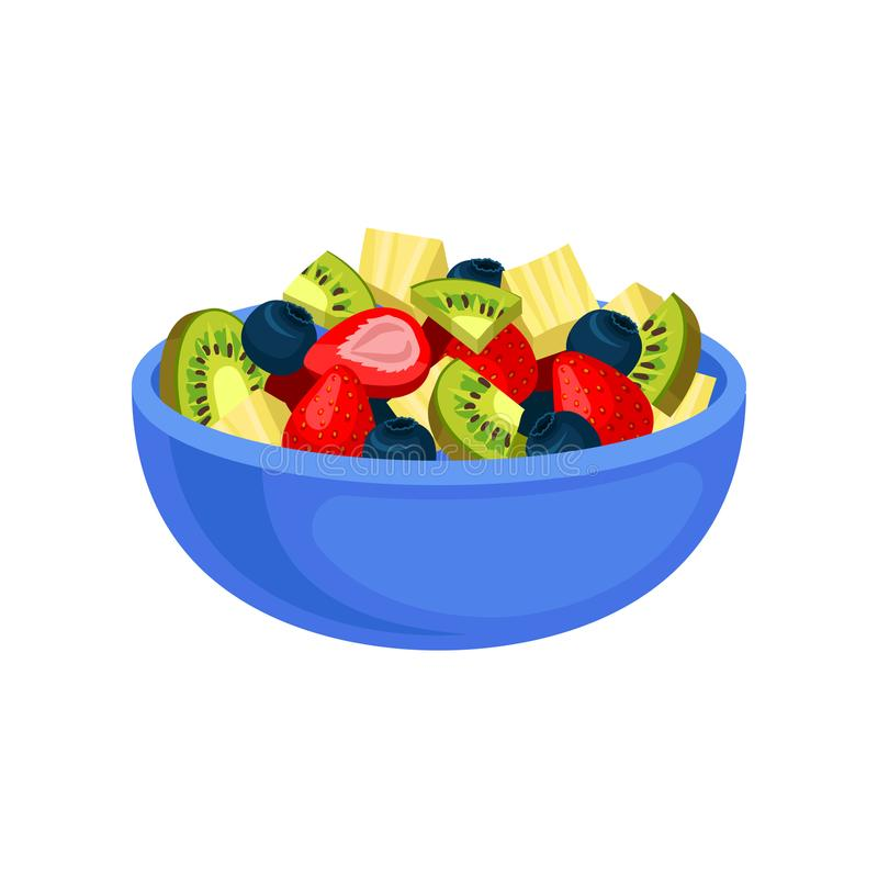 Flat vector icon of appetizing fruit salad. Sliced kiwi and pineapple, juicy strawberry and blueberry in blue ceramic. Cartoon icon of appetizing fruit salad vector illustration