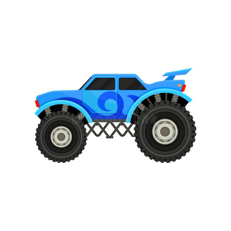 Flat vector icon of big monster truck. Blue car with large tires, spoiler and black tinted windows. Automobile theme. Cartoon icon of big monster truck. Blue car royalty free illustration