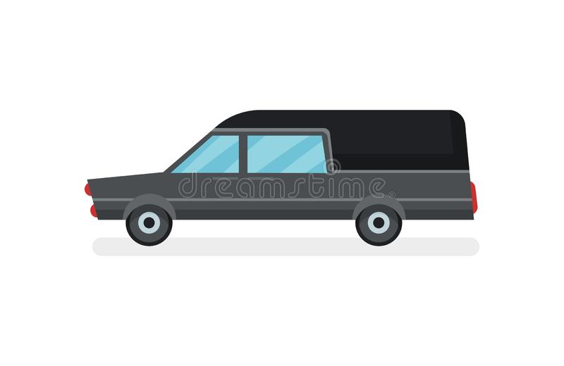 Flat vector icon of black hearse. Funeral service car. Urban transport. Modern motor vehicle. Cartoon icon of black hearse. Funeral service car. Urban transport vector illustration