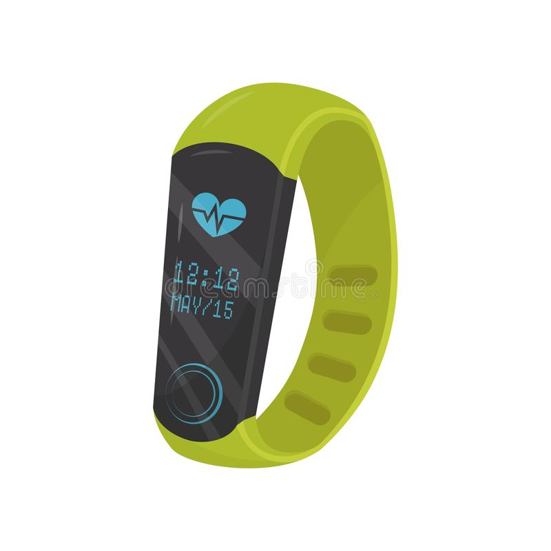 Flat vector icon of bright green fitness bracelet showing time and date. Smart watch with heart rate monitor. Modern vector illustration