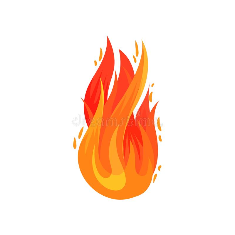 Cartoon icon of bright red-orange fire in flat style. Hot blazing flame. Flat vector element for advertising poster stock illustration