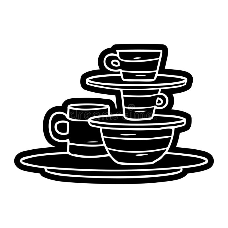 Cartoon icon drawing of colourful bowls and plates. A creative illustrated cartoon icon image drawing of colourful bowls and plates stock illustration