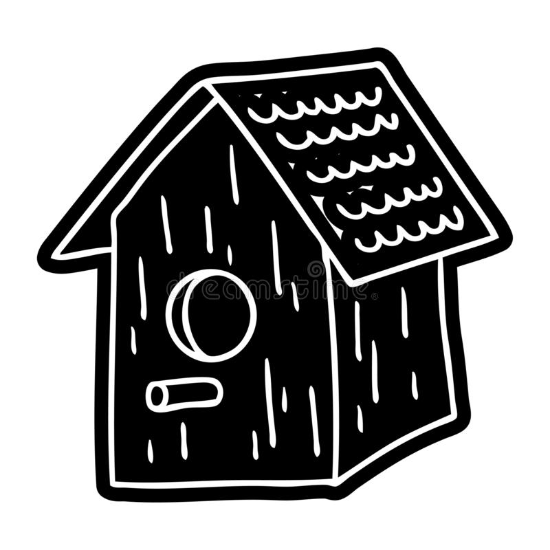 Cartoon icon drawing of a wooden bird house. A creative illustrated cartoon icon image drawing of a wooden bird house stock illustration