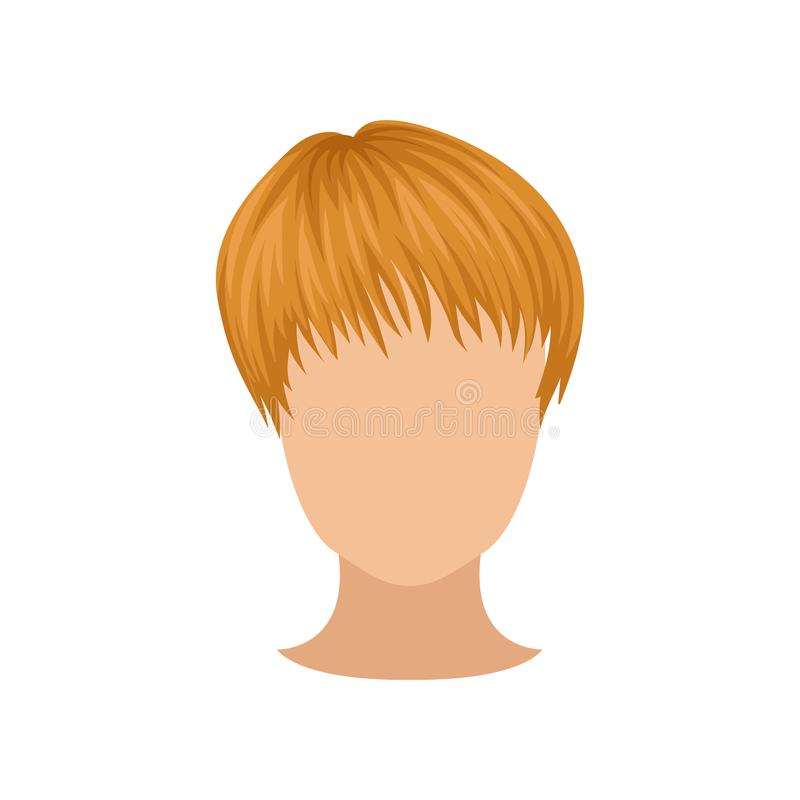 Flat vector icon of female head with short red hair. Trendy women s haircut. Wig on head of mannequin stock illustration