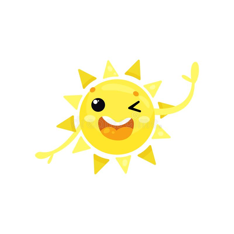 Cartoon icon of friendly yellow sun winking eye and waving hand, saying Hello . Funny weather character. olorful flat stock illustration