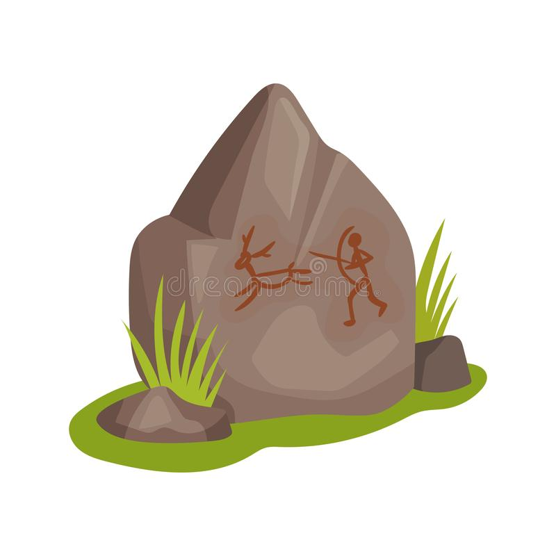 Flat vectir icon of large stone with drawing on green grass. Prehistoric rock-painting. Ancient man hunting for animal royalty free illustration