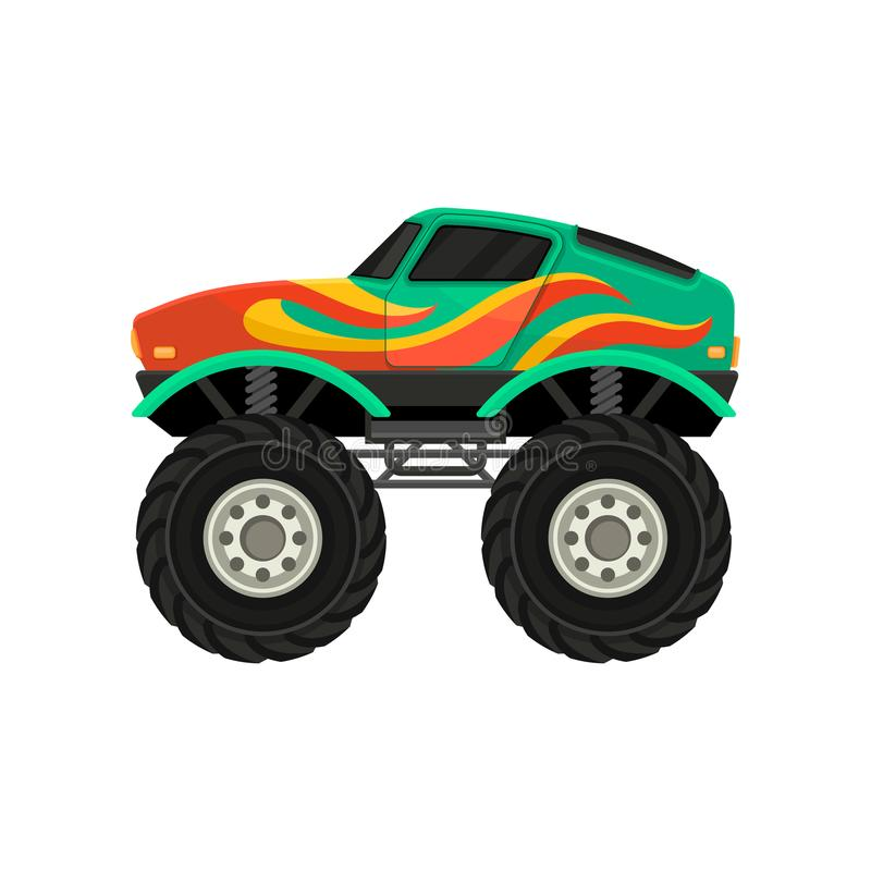 Flat vector icon of monster truck with large tires and black tinted windows. Extreme transport. Heavy green car with vector illustration